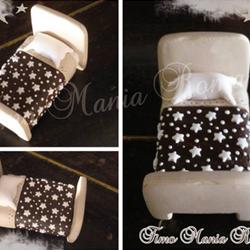 cake topper letto pan di stelle fimo
