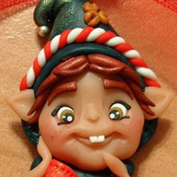 ciondolo fimo elfo di babbo natale