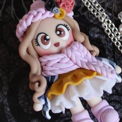 collana bambolina doll inverno fimo