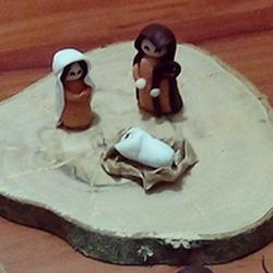 presepe su legno in fimo